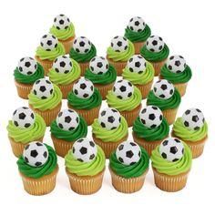24 Soccer Cupcake Toppers 24 Soccer Cupcake Toppers *** New and awesome product awaits you, Read it now : : baking decorations<br> Soccer Birthday Parties, Football Birthday, Sports Birthday, Soccer Party, Soccer Cupcakes, Soccer Birthday Cakes, Soccer Cake, Bakery Crafts, Sport Cakes
