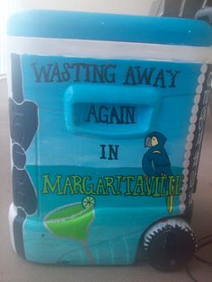 margaritaville cooler - totally doing this to my cooler! Fraternity Coolers, Frat Coolers, Cute Crafts, Diy Crafts, Creative Crafts, Formal Cooler Ideas, Bubba Keg, Greek Crafts, Coolest Cooler