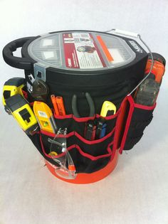 5 gallon bucket assembled with a bucket jocky and topper to make a building bucket