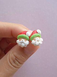 Santa Earrings Christmas Earrings Stud Earrings Santa