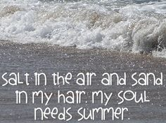 Salt in the air and sand in my hair. My soul needs summer quote by Clever Classroom blog