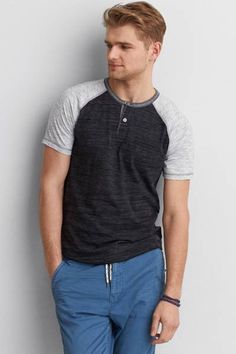 AEO Athletic Baseball Henley  by AEO | Our Athletic T is designed for comfort