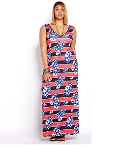 This is definitely a wow dress! All over print, sleeveless, long plus size dress with V neckline. 54 inch length. Be effortlessly sexy thanks to the sleek fit and fabric, as well as the fancy back cutout!