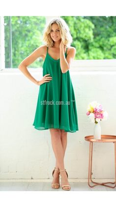 Chasing Kate Taylor Swing Dress in Emerald