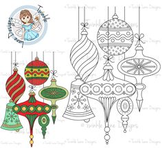 Vintage Baubles, Digi Stamp, Christmas Digital Stamp, Decorations, Bell, Adult Colouring Page, A5 Sheet, Digital Clipart, Bauble Clipart by TwinkleLaneDesigns on Etsy