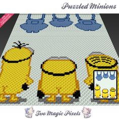 Puzzled Minions crochet blanket pattern; c2c, cross stitch; graph; pdf download; no written counts or row-by-row instructions by TwoMagicPixels, $3.99 USD