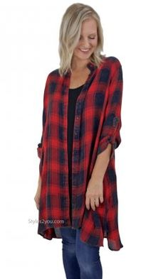 Abree Oversized Button Down Paid Shirt Dress Duster Cardigan Red