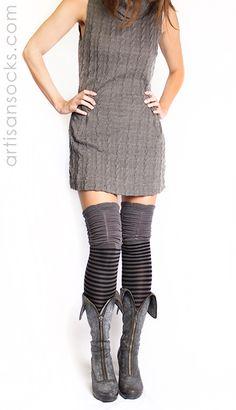 LOVE these socks, too!!! Striped OTK Socks / Thigh Highs - CHARCOAL & BLACK