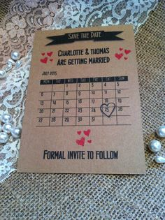 20 Personalised Vintage Shabby Chic Save the Date Cards Wedding Brown Kraft