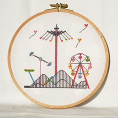 Fun Fair Cross Stitch Pattern-rollercoaster, carousels, amusement rides, ferris wheel, balloons, PDF, instant download