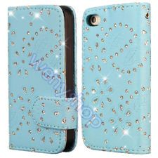 Bling Wallet Flip Leather Phone Hard Case Cover For Apple iPhone 4 4S 4G Blue