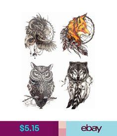 $5.15 - Save More!4Pcs/Set Temporary Tattoo Sticker Body Art Waterproof Combo Animals #ebay #Fashion