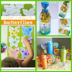 Count and match butterflies, spring sensory bottle and cardboard tube butterflies.