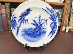c 1873 + Victorian Flow Blue Plate Kingfisher Decoration - Edge Malkin & Co