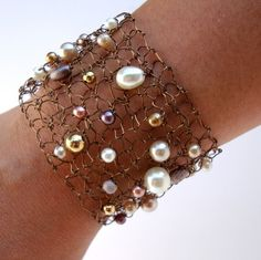 Mocha Java Copper Wire Cuff Bracelet Lace Mesh with Pearl Crystals Chocolate Ivory Bracelet Brown French Roast Cream Hand Knit Jewelry