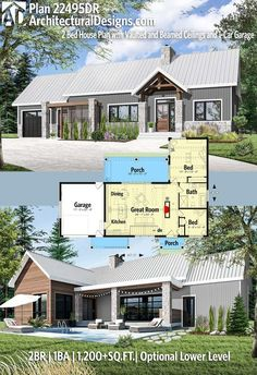 """Maybe try an """"L"""" shaped house with bedrooms in one """"wing"""". Architectural Designs Modern House Plan has 2 beds Modern House Plans, Small House Plans, Modern House Design, Cheap House Plans, Building A Porch, Building A House, The Plan, How To Plan, Modern Porch"""