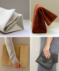 Sacos De Papel by ANVE. Leather bags constructed with folds that mimic paper sacks. via wit+delight