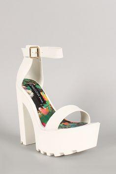 Wild Diva Lounge Leatherette Ankle Strap Lug Sole Platform Heel
