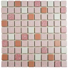 Crystalline Square Pink 11-3/4 in. x 11-3/4 in. x 5 mm Porcelain Mosaic Tile, Merola Tile, $8.98 /each