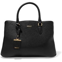 DKNY Textured-leather tote ($215) ❤ liked on Polyvore featuring bags, handbags, tote bags, black, tote bag purse, zipper tote, tote handbags, zip tote bag and zipper purse