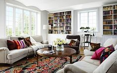 Brightly Lit Home Library