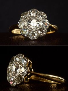 1910-20s English Flower/Cluster Ring, ~1.60ctw European Cut Diamonds18K Gold, Platinum
