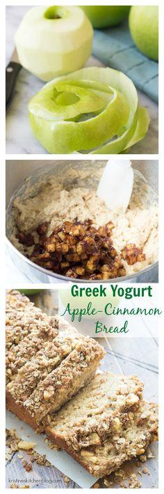 This Greek Yogurt Apple-Cinnamon Quick Bread is SO moist! It has a walnut oat…
