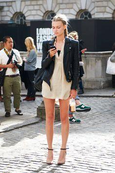Name: Farah Holt Jacket: Whistles (shop similar: Bar III or True Religion) Similar Dress: Mango or Closed Shoes: Zara (shop similar: Reed Krakoff or KORS Michael Kors)   - ELLE.com