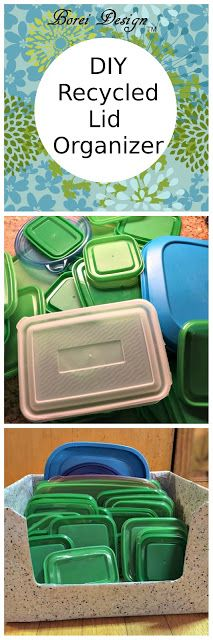 Borei Design: Freebie DIY: Recycled Food Storage Lid Organizer