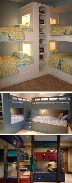 Fabulous Corner Bunk Bed Ideas This is such a neat idea! Would imagine you could do this for just two ! 30 Fabulous Corner Bunk Bed IdeasThis is such a neat idea! Would imagine you could do this for just two ! Corner Bunk Beds, Kids Bunk Beds, Adult Bunk Beds, Bunk Rooms, Bunk Bed Designs, Cozy House, My Dream Home, Home Projects, Small Spaces