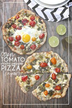 Corn Tomato Shisito Pepper Pizza - shutterbean