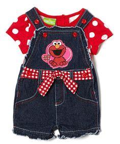 Another great find on #zulily! Red Polka Dot Elmo Top & Shortalls - Toddler #zulilyfinds