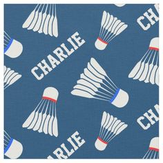 Badminton shuttlecock blue name pattern fabric. Ideal for badminton fans and players sewn items. Art and design by www.sarahtrett.com #badminton