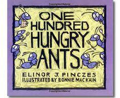 One Hundred Hungry Ants by Elinor J Pinczes, Bonnie MacKain (Illustrator). 100th Day of School books for kids.  http://www.apples4theteacher.com/holidays/100th-day-of-school/kids-books/one-hundred-hungry-ants.html
