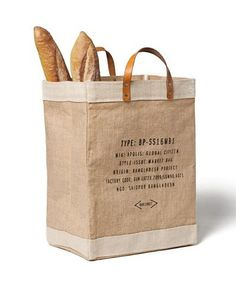 Market bag from Apolis. Features 100% natural golden jute fiber harvested in Bangladesh, waterproof lining, natural veg dyed leather straps reinforced by antique nickel rivets. Oh, yes, I really need this bag when I go to the market.