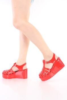 Red Strappy Platform Jelly Sandal Wedges PVC
