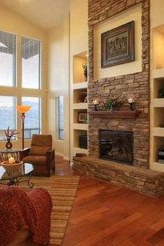 Most up-to-date Photo Fireplace Remodel high ceiling Ideas Tall fireplace, veneer stone, with cutout in the stone to place a large painting Tall Fireplace, Brick Fireplace Makeover, Home Fireplace, Fireplace Remodel, Fireplace Surrounds, Fireplace Design, Fireplace Hearth, Fireplace Ideas, Tall Wall Decor