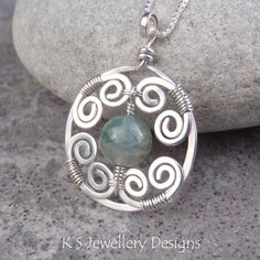 Misty Swirls - Natural Aquamarine Spiral Circle Frame Sterling Silver Pendant (KS26) | by KSJewelleryDesigns