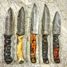 Knives by Halfface Blades. Left to right, Zeus disasters, Crow Scouts w the last one ground to size.