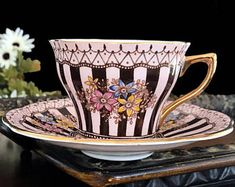 Rosina English Tea Cup - Pink & Chocolate Brown Striped Floral Teacup And Saucer