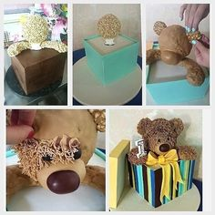 Teddy bear in a box Cakes To Make, How To Make Cake, Fondant Cakes, Cupcake Cakes, 3d Cake Tutorial, Foto Pastel, Cake Structure, Gravity Cake, Teddy Bear Cakes