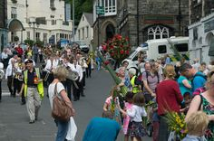 The procession entering the Market Place - Ambleside Rushbearing