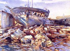 John Singer Sargent (1856-1925) Flotsam and Jetsam Watercolor on paper 1908 47.3202 x 34.6202 cm #art #museum