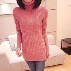 Women's Turtle Neck Solid Color Stripes Slim Sweater   LightInTheBox
