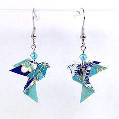 Boucles d'oreilles colombes origami verticales bleues - crochets inox