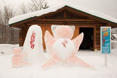 """At the station close, there is a snow figure of a local doll called """"Saru Bobo""""."""