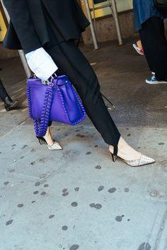 The Bags of New York Fashion Week... Fendi purple peekaboo