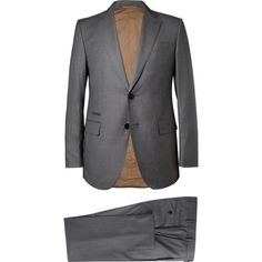 Berluti Grey Tortona Slim-Fit Wool-Birdseye Suit (254.030 RUB) ❤ liked on Polyvore featuring men's fashion, men's clothing, men's suits, men, grey, mens slim fit suits, mens slim cut suits, mens slim suits, mens clothing and mens 3 button suits