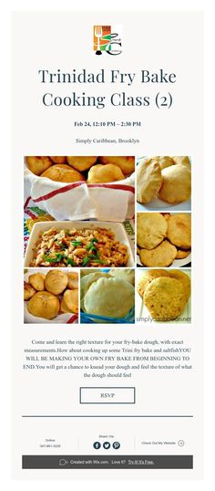 Fry Bake & Saltfish Cooking Class with Channa Bake And Saltfish, Caribbean Recipes, Caribbean Food, Cooking Classes, Fries, Favorite Recipes, Bread, Make It Yourself, Baking