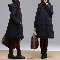 2colors black jacket coat  winter autumn oversize Loose by Aolo, $123.00